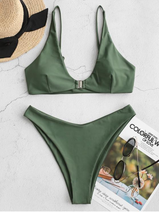 ZAFUL إغلاق الجبهة العليا الساق بيكيني ملابس السباحة - التمويه الأخضر M