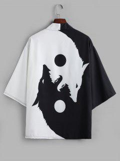 Cardigan Kimono Ouvert En Avant Lune Et Loup Imprimés - Noir S