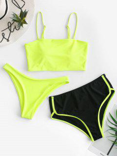 ZAFUL Neon High Cut Piping Three Piece Tankini Swimsuit - Chartreuse L