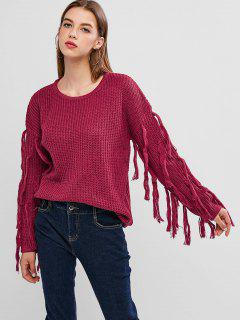 Drop Shoulder Tassel Jumper Sweater - Rogue Pink Xl