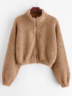 ZAFUL Drop Shoulder Zip Up Teddy Coat - Khaki M