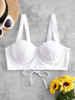 ZAFUL Lace-up Push Up Mermaid Bikini Top - Milk White S