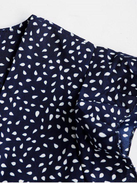 affordable Raindrop Print Ruffles Mini Dress - DARK SLATE BLUE M Mobile