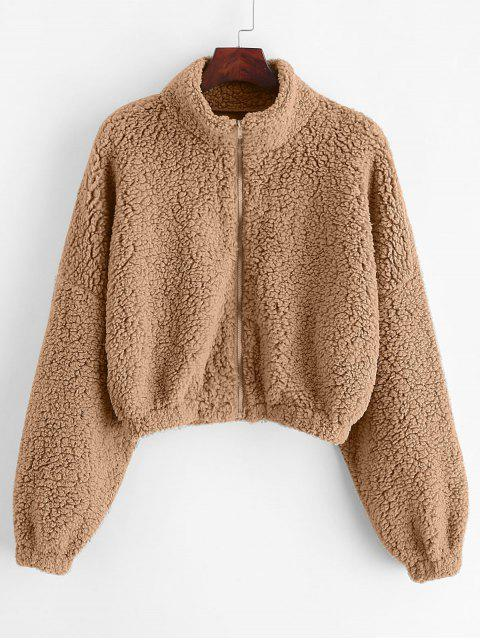 women ZAFUL Drop Shoulder Zip Up Teddy Coat - KHAKI S Mobile