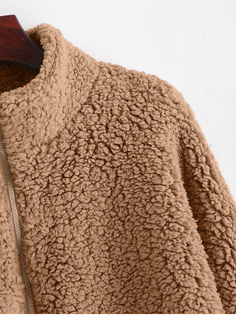 Abrigo de peluche con cremallera y hombros descubiertos ZAFUL - Caqui S Mobile