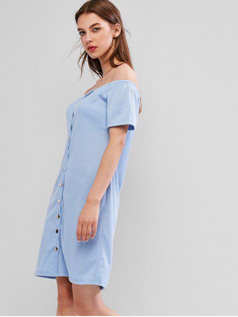 Robe Côtelée Epaule Dénudée avec Bouton Pression - Bleu Toile de Jean M Mobile