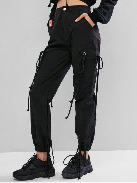 Cordones con bolsillos adornados Pantalones de chándal sólidos - Negro S Mobile