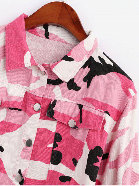 Veste Courte Camouflage Boutonnée à Coupe Brute - Rose  S Mobile