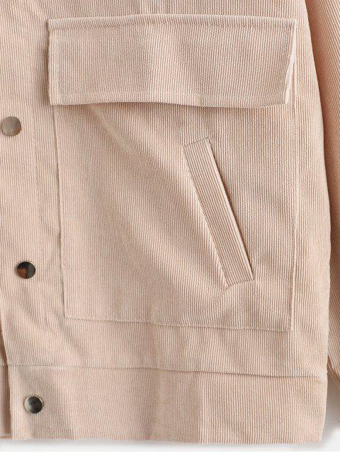 shops Snap Button Flap Pockets Corduroy Shirt Jacket - BEIGE XL Mobile