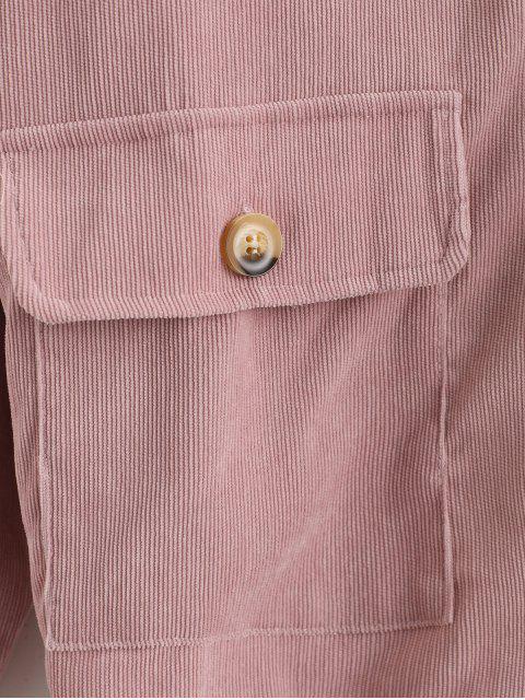 Veste Boutonnée Col en Fourrure avec Poches à Rabat - Cerisier Rose M Mobile