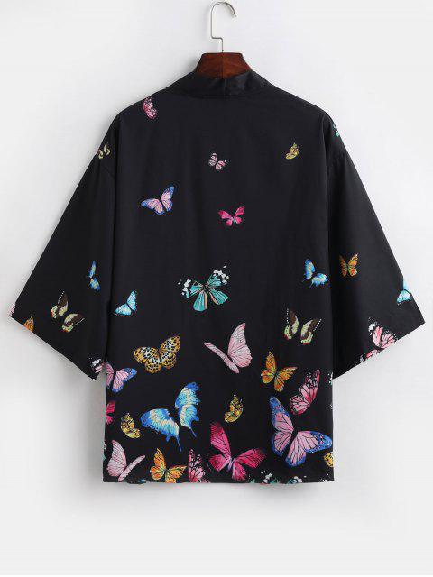 shop Colored Butterfly Allover Print Kimono Cardigan - BLACK L Mobile
