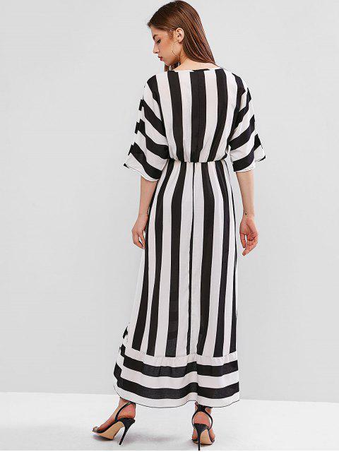 shop Striped Surplice Plunge High Low Tied Waist Dress - MULTI-A XL Mobile