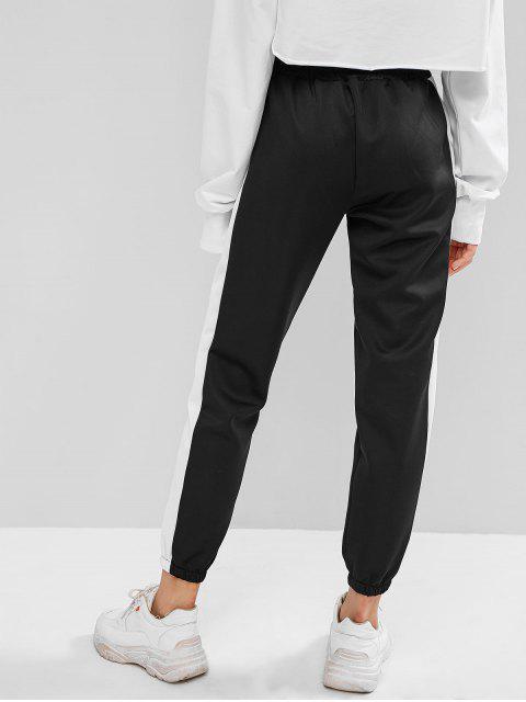 Pantalones jogger de bolsillo con dos tonos - Negro M Mobile