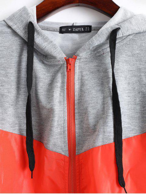 shop ZAFUL Mixed Media Two Tone Hooded Zip Windbreaker Jacket - ORANGE M Mobile