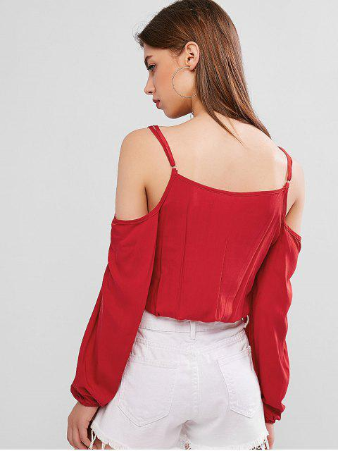 lady Cold Shoulder Knotted Crop Blouse - RED M Mobile