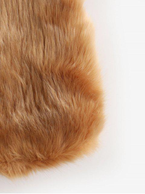 Chaleco de piel sintética con frente abierto sólido - Camel Marrón L Mobile