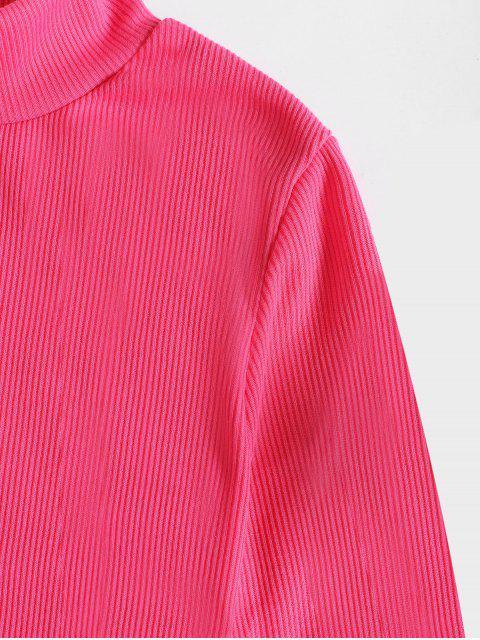 Robe Moulante Néon en Couleur Unie à Col Montant - Rose  M Mobile