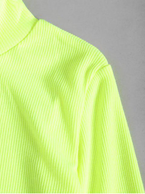 Robe Moulante Néon en Couleur Unie à Col Montant - Vert Jaune M Mobile