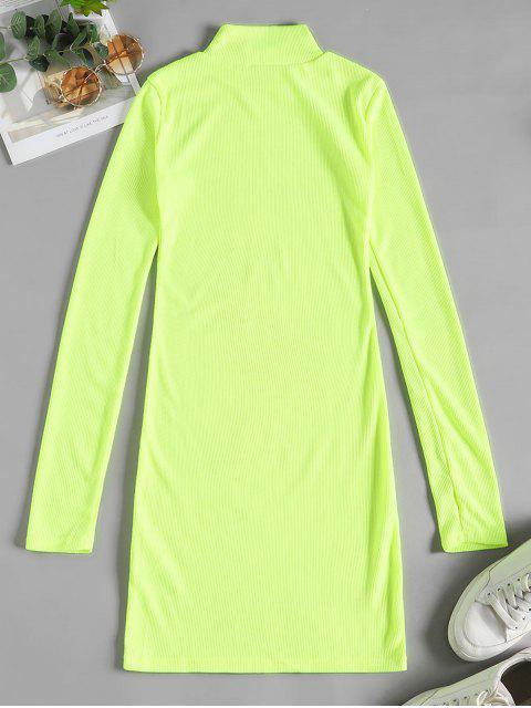 Robe Moulante Néon en Couleur Unie à Col Montant - Vert Jaune S Mobile