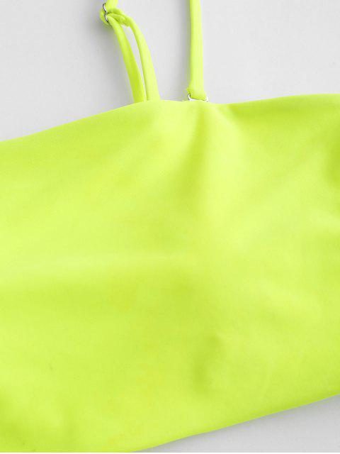 ZAFULネオンハイカットパイピングスリーピースタンキニ水着 - Chartreuse S Mobile