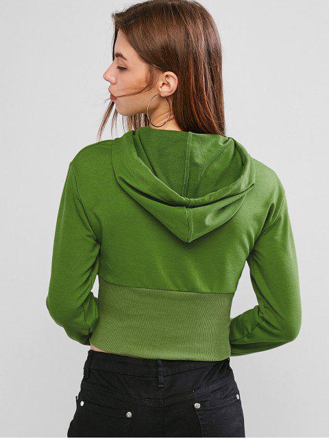 sale Drawstring Cut Out Ribbed Hem Hoodie - DEEP GREEN L Mobile