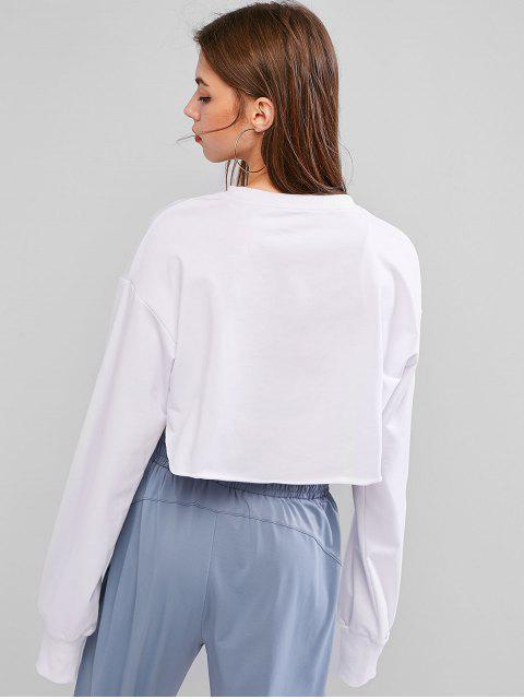 womens Open Bust Raw Cut Drop Shoulder Crop Sweatshirt - WHITE L Mobile