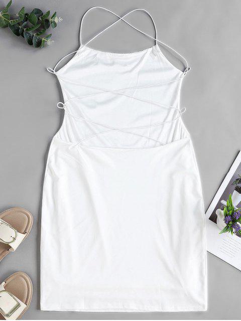Rückenfreies Figurbetontes Kreuzes und Queres Chasuble Kleid - Weiß S Mobile