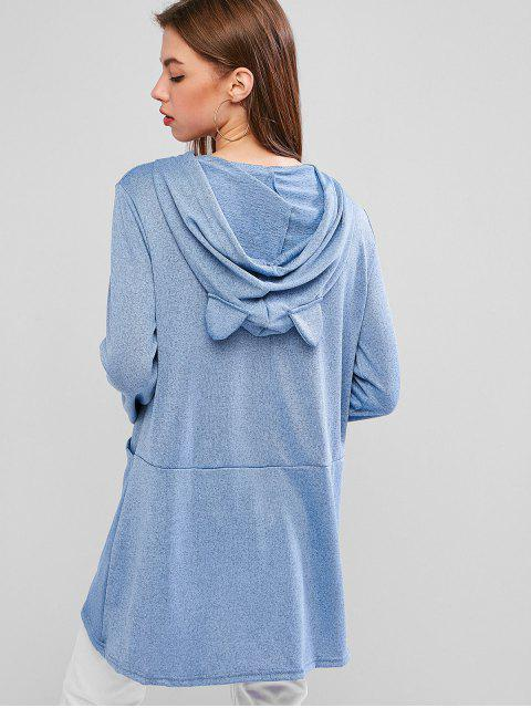 sale Hooded Funny Cat Letter Graphic Pocket Tunic Knitwear - BLUE GRAY S Mobile