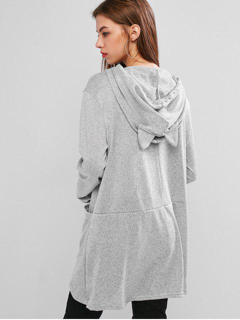 chic Hooded Funny Cat Letter Graphic Pocket Tunic Knitwear - LIGHT GRAY XL Mobile