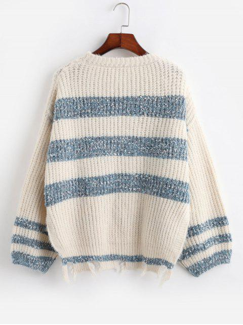 best ZAFUL Two Tone Sharkbite Trim High Low Slit Sweater - WHITE M Mobile