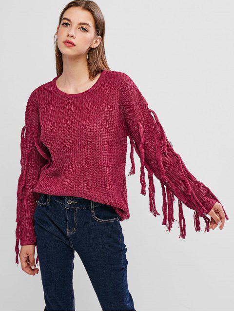 best Drop Shoulder Tassel Jumper Sweater - ROGUE PINK XL Mobile