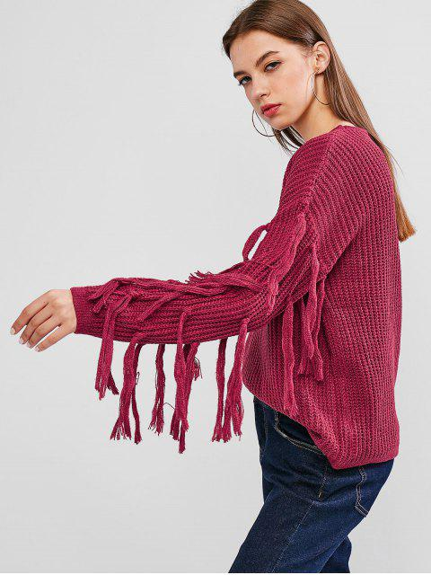 Tropfen Schulter Quaste Pullover - Schurke Rosa XL Mobile