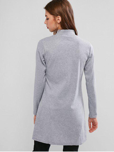 affordable High Neck Side Slit Ribbed Knitwear - LIGHT GRAY S Mobile