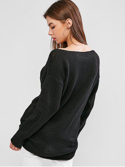 fashion Drop Shoulder Plunging High Low Sweater - BLACK L Mobile