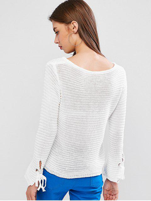unique Scoop Neck Tie Cuffs Pullover Sweater - WHITE L Mobile