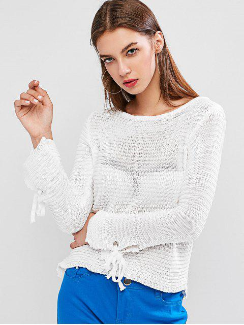 women Scoop Neck Tie Cuffs Pullover Sweater - WHITE XL Mobile
