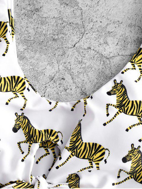 ZAFUL de zebra atado de talle alto de Tankini del traje de baño - Blanco S Mobile