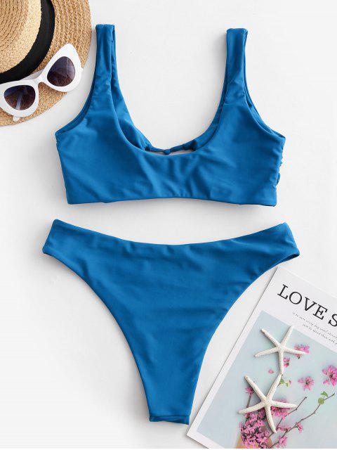 new ZAFUL Hollow Out High Leg Tank Bikini Swimsuit - BLUEBERRY BLUE M Mobile