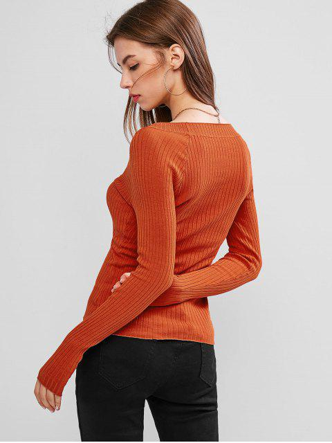 womens Button Embellished Plunging Ribbed Sweater - BRIGHT ORANGE S Mobile