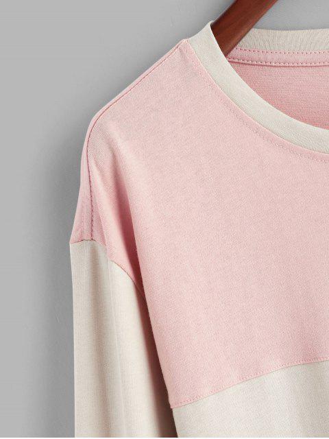 Dos tonos del bordado de la aleta T bolsillo de la camisa - Cerdo Rosa L Mobile