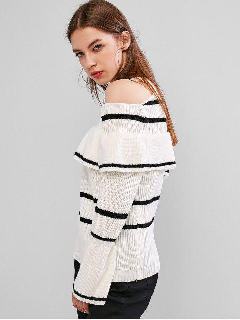 buy Striped Cold Shoulder Flounce Sweater - WHITE L Mobile
