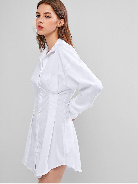 Mini Robe Chemise Boutonnée à Manches Longues - Blanc S Mobile