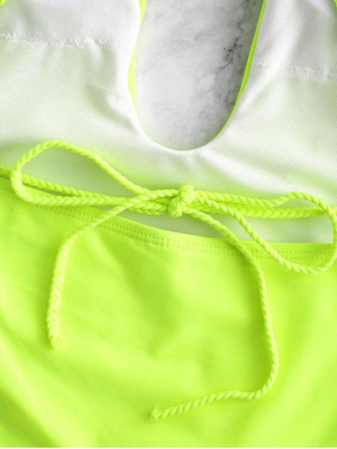 ZAFUL Плетеный ремешок Открытая спина Слитный Купальник - Желто-зеленый L Mobile