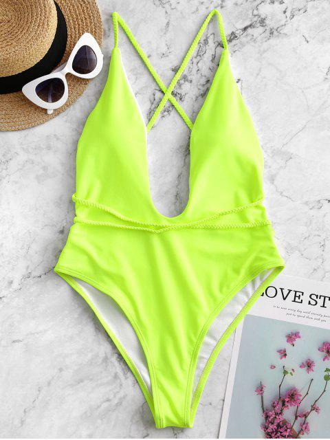 affordable ZAFUL Braided Straps Backless One-piece Swimsuit - GREEN YELLOW L Mobile
