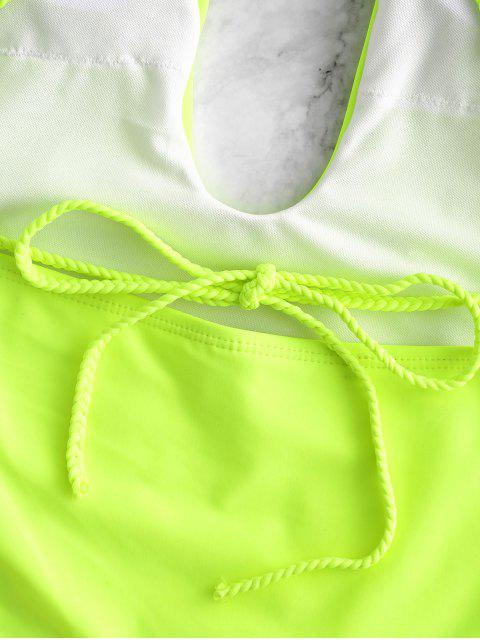Costume Intero Senza Schienale con Spalline Intrecciate di ZAFUL - Verde Giallo S Mobile