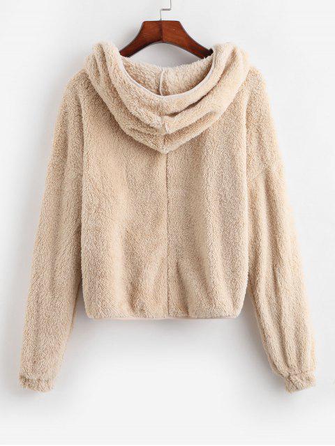 lady Pockets Open Front Fluffy Faux Shearling Jacket - LIGHT KHAKI XL Mobile