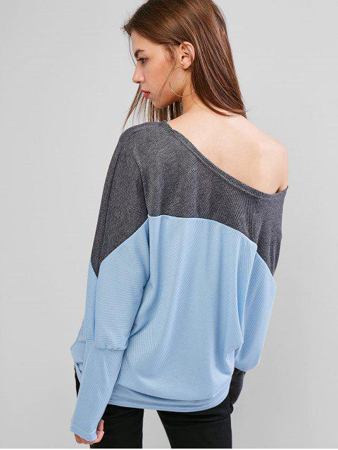 latest Skew Collar Ribbed Batwing Top - LIGHT BLUE XL Mobile