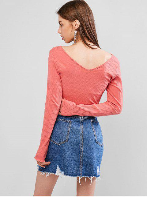 outfit Back V Ribbed Crop Top - FLAMINGO PINK S Mobile