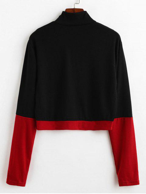 outfit Mock Neck Two Tone Short Tee - BLACK L Mobile