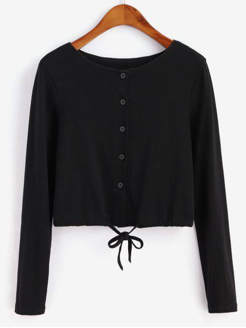 outfits Drawstring Button Front Long Sleeve Tee - BLACK M Mobile